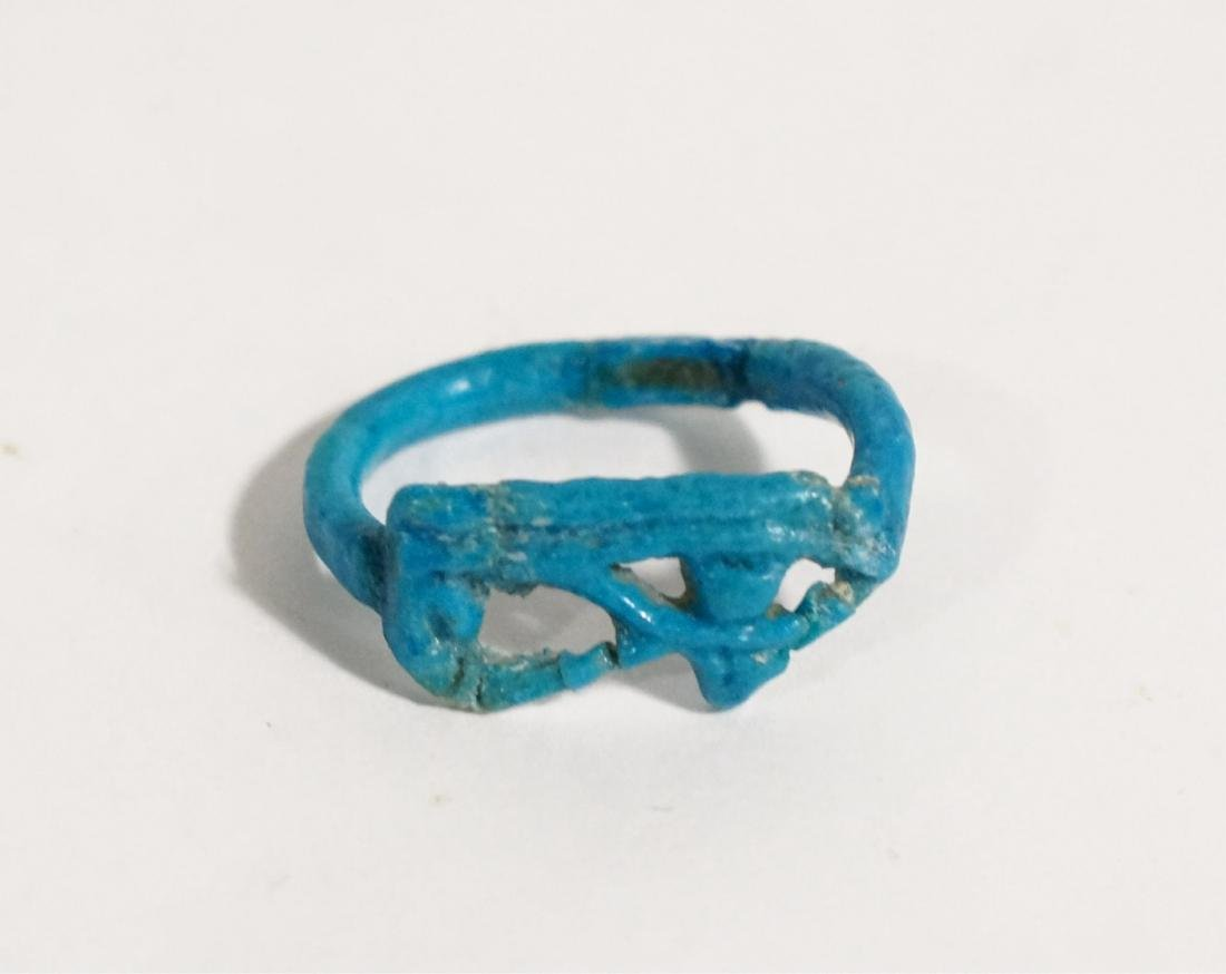 ANCIENT EGYPTIAN BLUE FAIENCE RING, EYE OF HORUS ,
