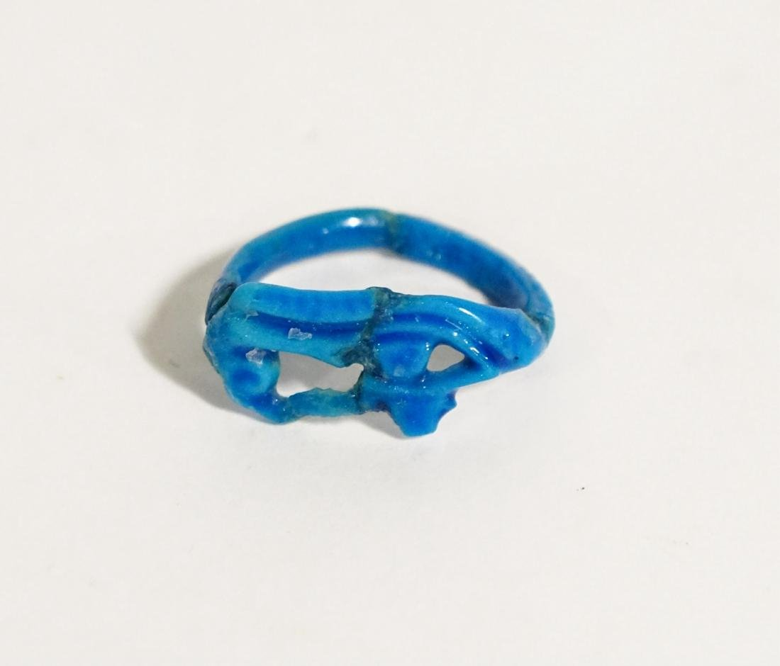 ANCIENT EGYPTIAN BLUE FAIENCE RING, EYE OF HORUS