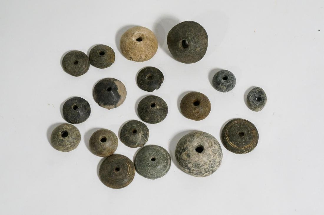 GROUP OF 15 ANCIENT ROMAN STONE SPINDLE WHORLS