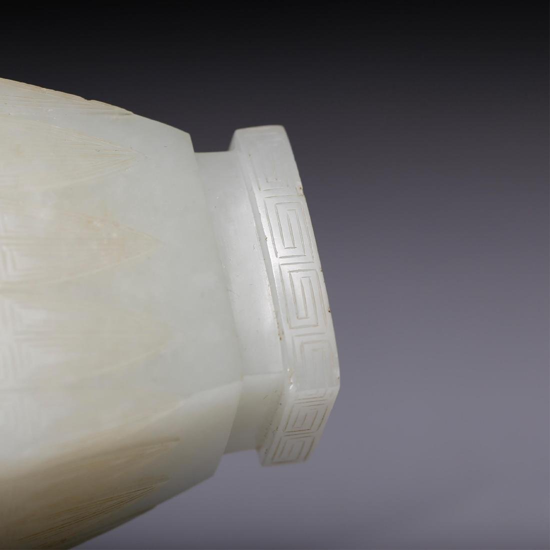 CHINESE QING WHITE JADE COVER VASE - 6
