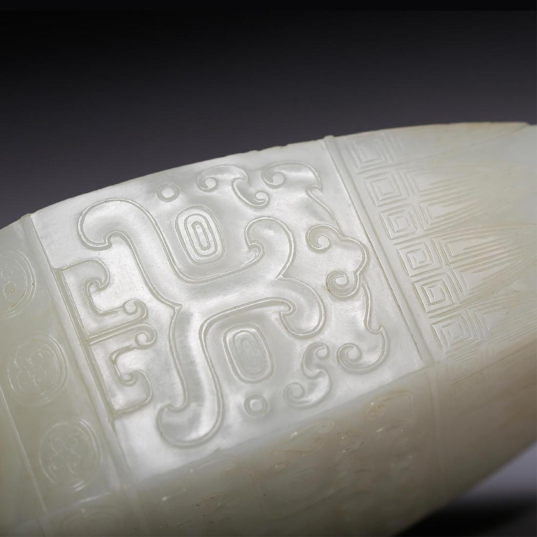 CHINESE QING WHITE JADE COVER VASE - 7