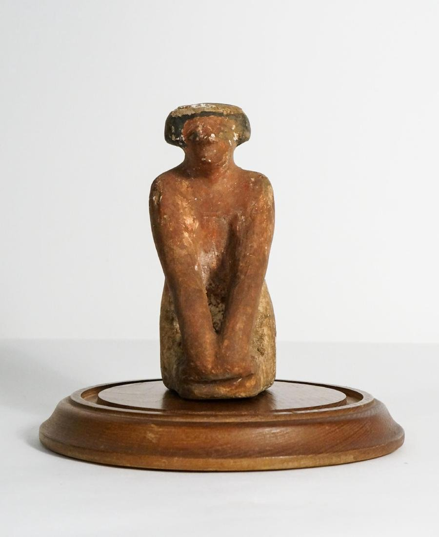 ANCIENT EGYPTIAN WOODEN KNEELING FIGURE