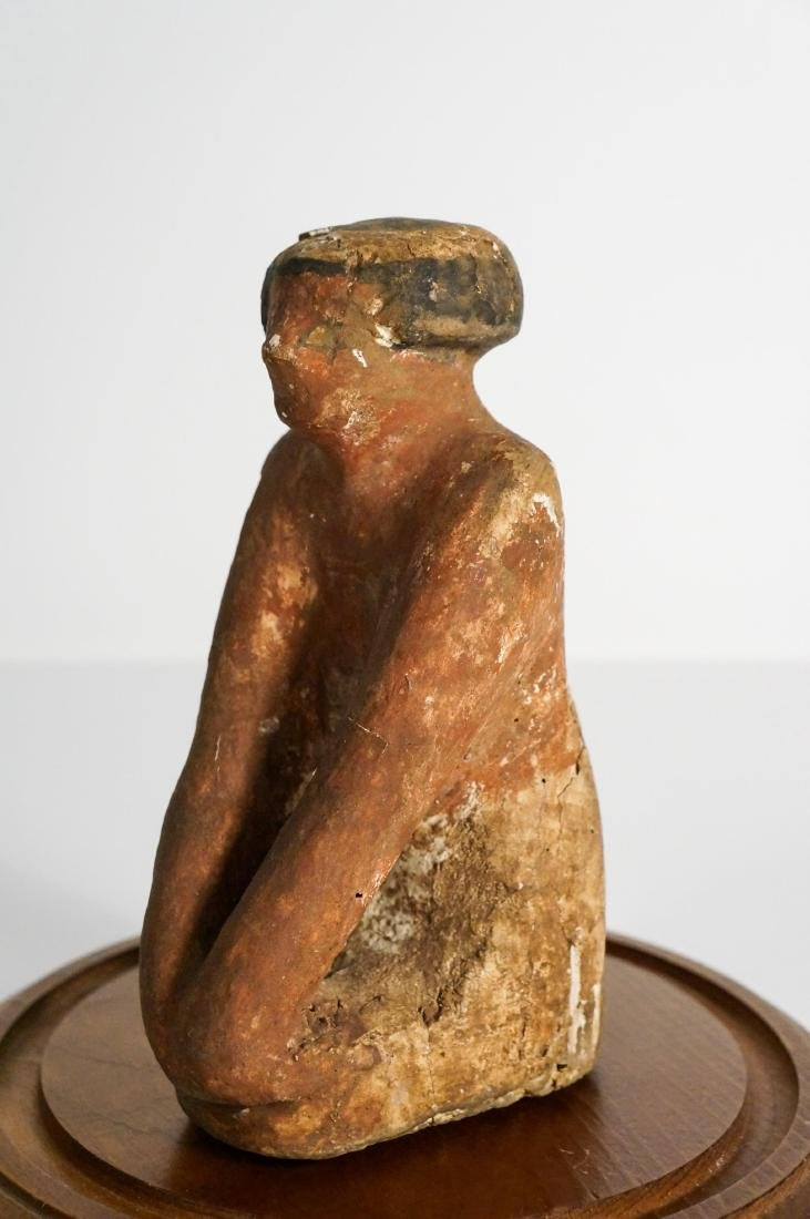 ANCIENT EGYPTIAN WOODEN KNEELING FIGURE - 4