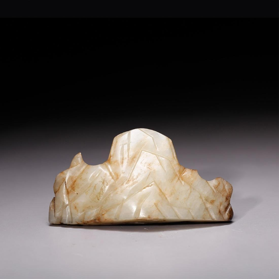 CHINESE MING DYNASTY WHITE JADE BRUSH REST