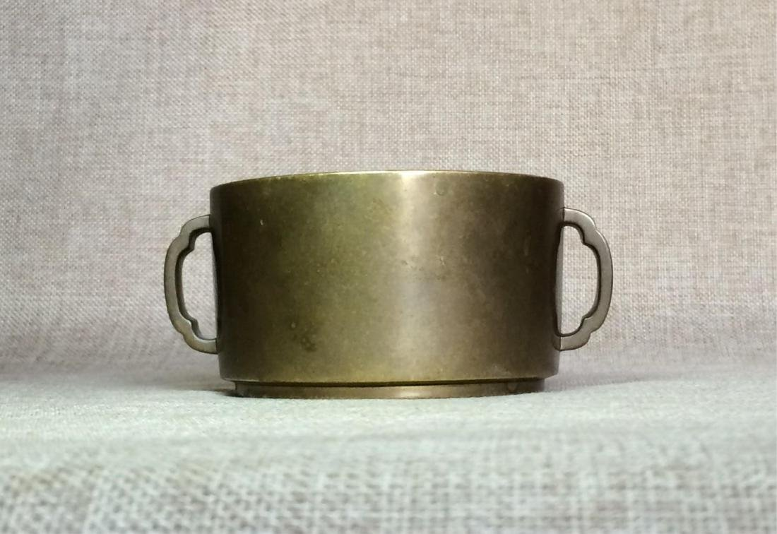 CHINESE QING DYNASTY BRONZE TWIN HANDLE CENSER