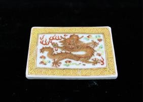 CHINESE FAMILLE ROSE PORCELAIN BELT BUCKLE
