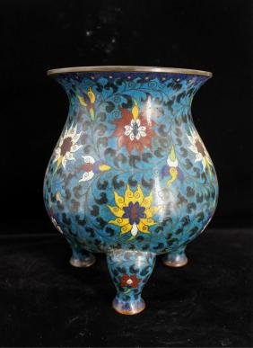 CHINESE QING DYNASTY CLOISONNE TRIPOD CENSER