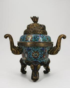 18TH CENTURY CHINESE CLOISONNE TRIPOD CENSER