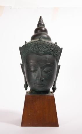 THAI AYUTTHAYA STYLE BRONZE HEAD OF BUDDHA