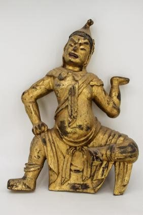 CHINESE GILT WOOD CARVED FIGURE