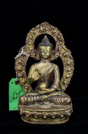 CHINESE QING GILT BRONZE BHAISAJYAGURU BUDDHA