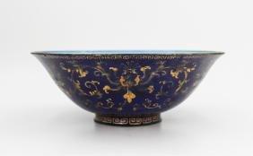 18TH CENTURY CHINESE GILT ENAMEL ON BRONZE BOWL