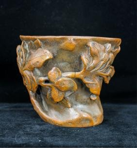 CHINESE QING DYNASTY BAMBOO CARVED CUP