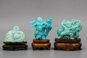 GROUP OF 3 CHINESE TURQUIOSE FIGURES