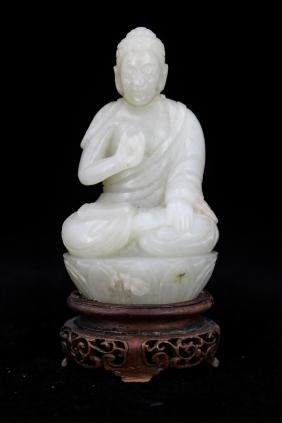 CHINESE QING DYNASTY JADE CARVED BUDDHA WITH STAND