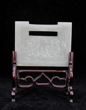 CHINESE QING WHITE JADE LOCK SHAPE PLAQUE W/ STAND