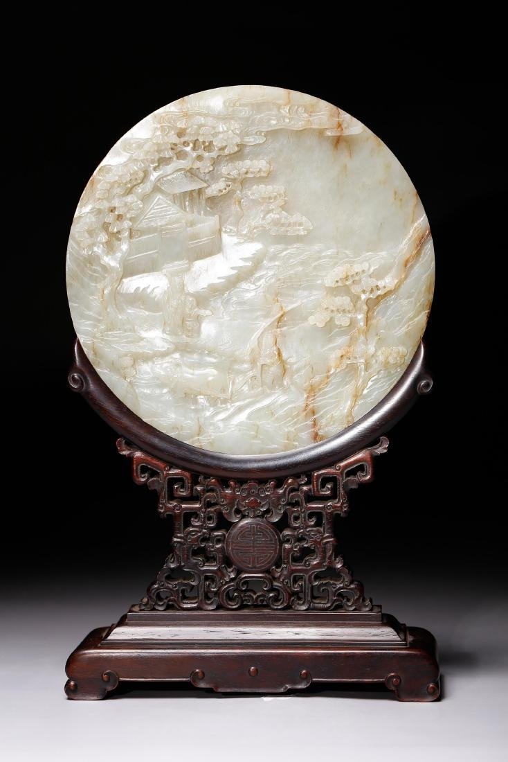 CHINESE WHITE JADE TABLE SCREEN CARVE SCENARY