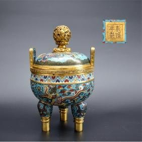 CHINESE CLOISONNE TRIPOD COVER CENSER WITH MARK