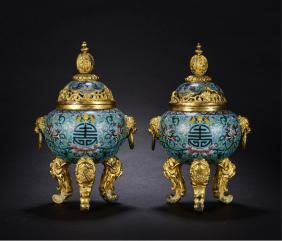 PAIR OF CHINESE CLOISONNE TRIPOD COVER CENSER WITH