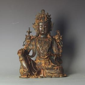 LARGE CHINESE MING DYNASTY GILT BRONZE GUANYIN
