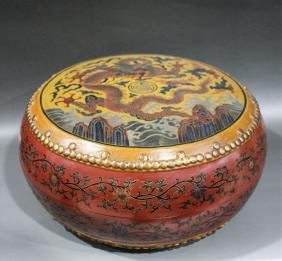 CHINESE DRUM SHAPE LACQUER COVER BOX
