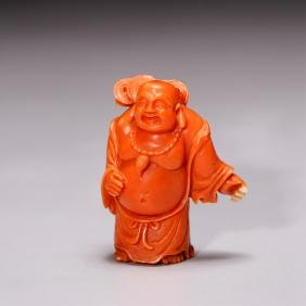 CHINESE CORAL CARVED FIGURE OF HOTEI