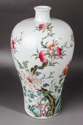 CHINESE FAMILLE ROSE MEIPING VASE, MARKED