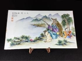 CHINESE FAMILLE ROSE PORCELAIN PLAQUE, FISHERMAN