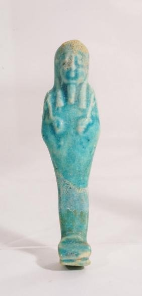 ANCIENT EGYPTIAN TURQUOISE FAIENCE USHABTI