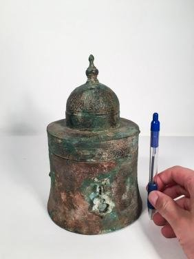 ANTIQUE ISLAMIC PERSIAN INKWELL INLAID SILVER