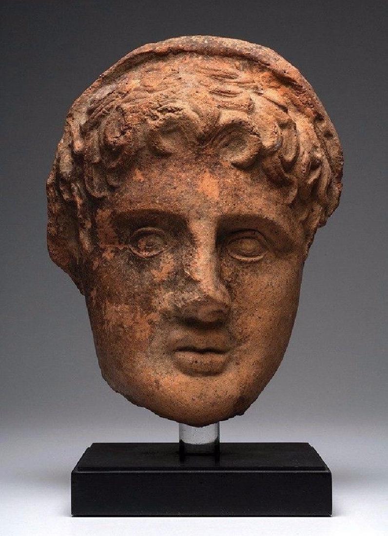 LARGE ANCIENT ETRUSCAN GREEK POTTERY VOTIVE HEAD