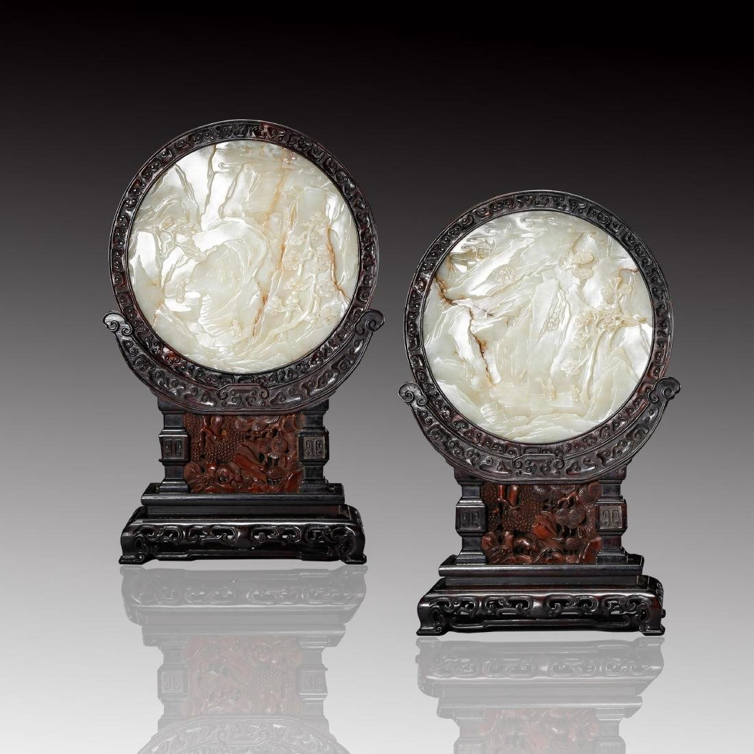 PAIR OF CHINESE CELADON WHITE JADE TABLE SCREENS
