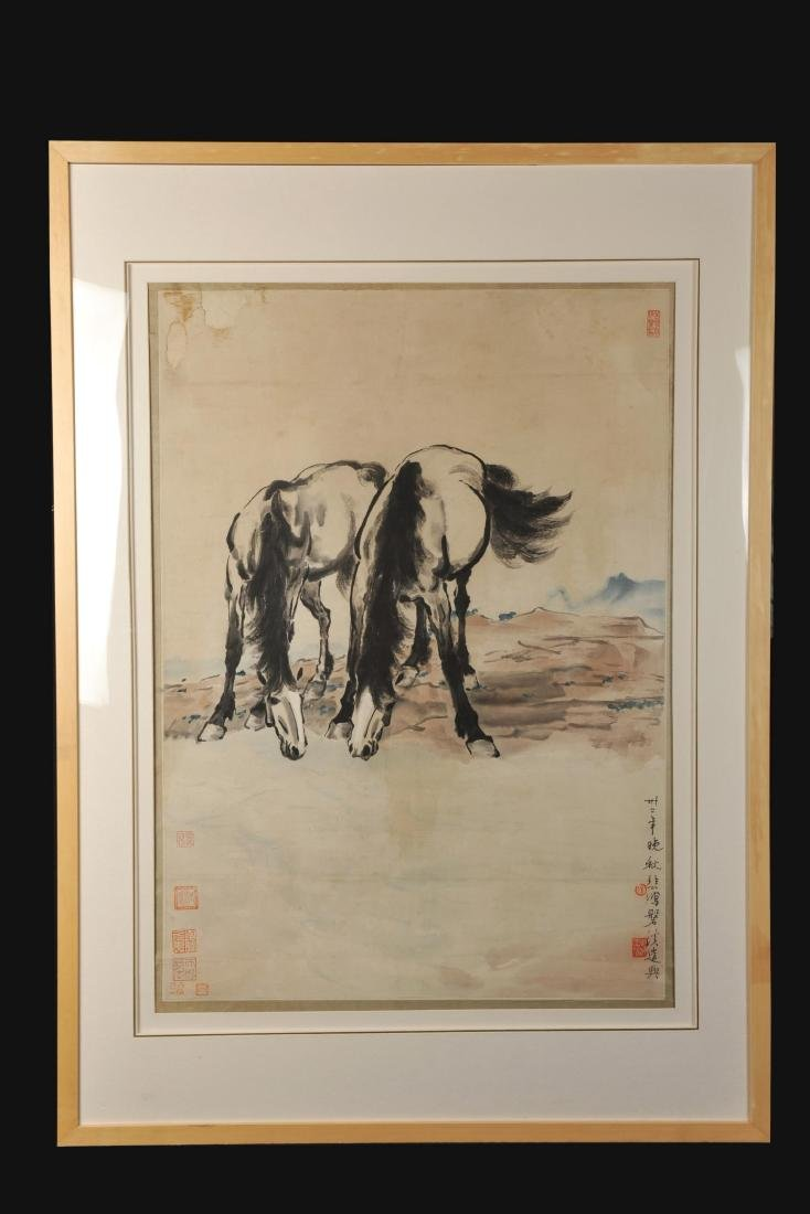 CHINESE FRAMED HORSE PAINTING, XU BEIHONG