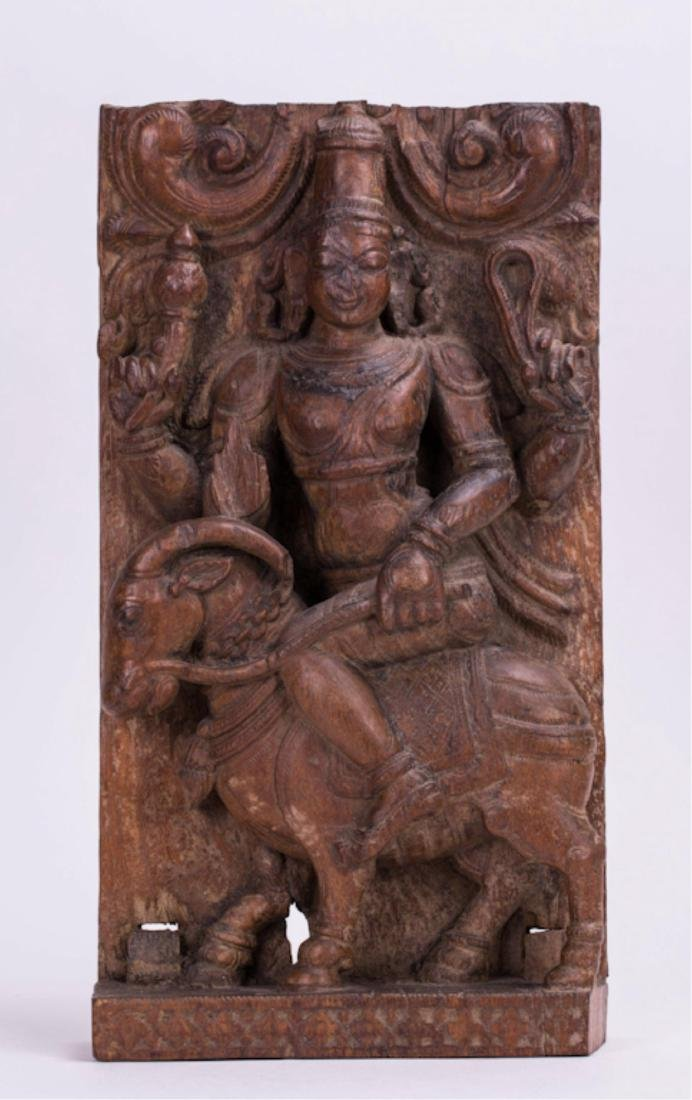 INDIAN CARVED WOODEN MANGALA GRAHA PANEL