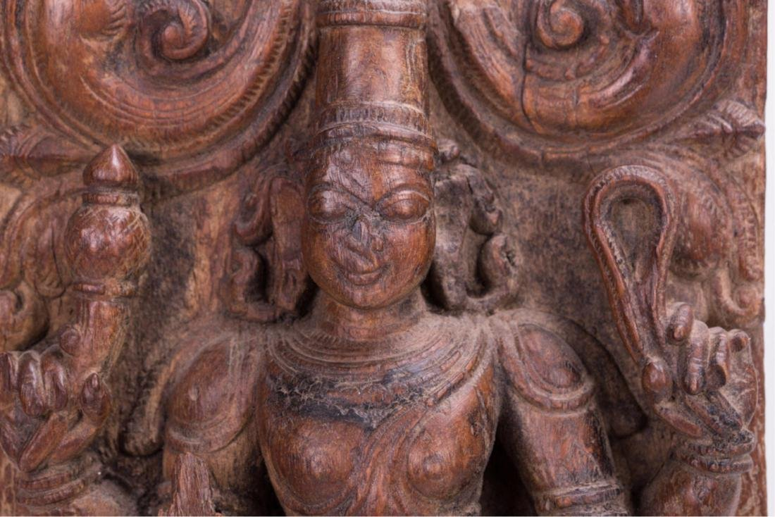INDIAN CARVED WOODEN MANGALA GRAHA PANEL - 2