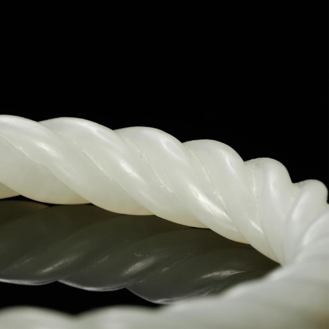 PAIR OF CHINESE WHITE JADE TWISTED BANGLE - 6