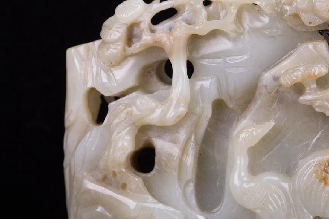 CHINESE JADE BOULDER CARVED CRANE AND PINE TREES - 2