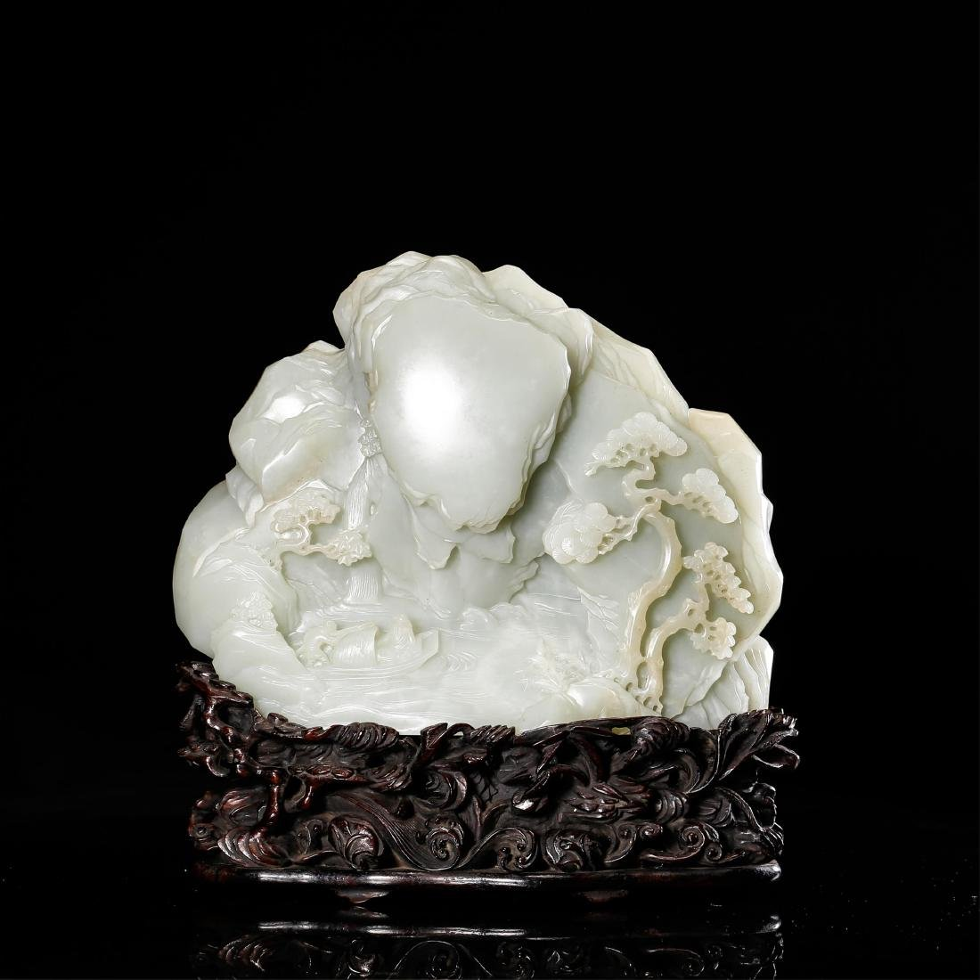 CHINESE WHITE JADE SCHOLAR BOULDER WITH STAND