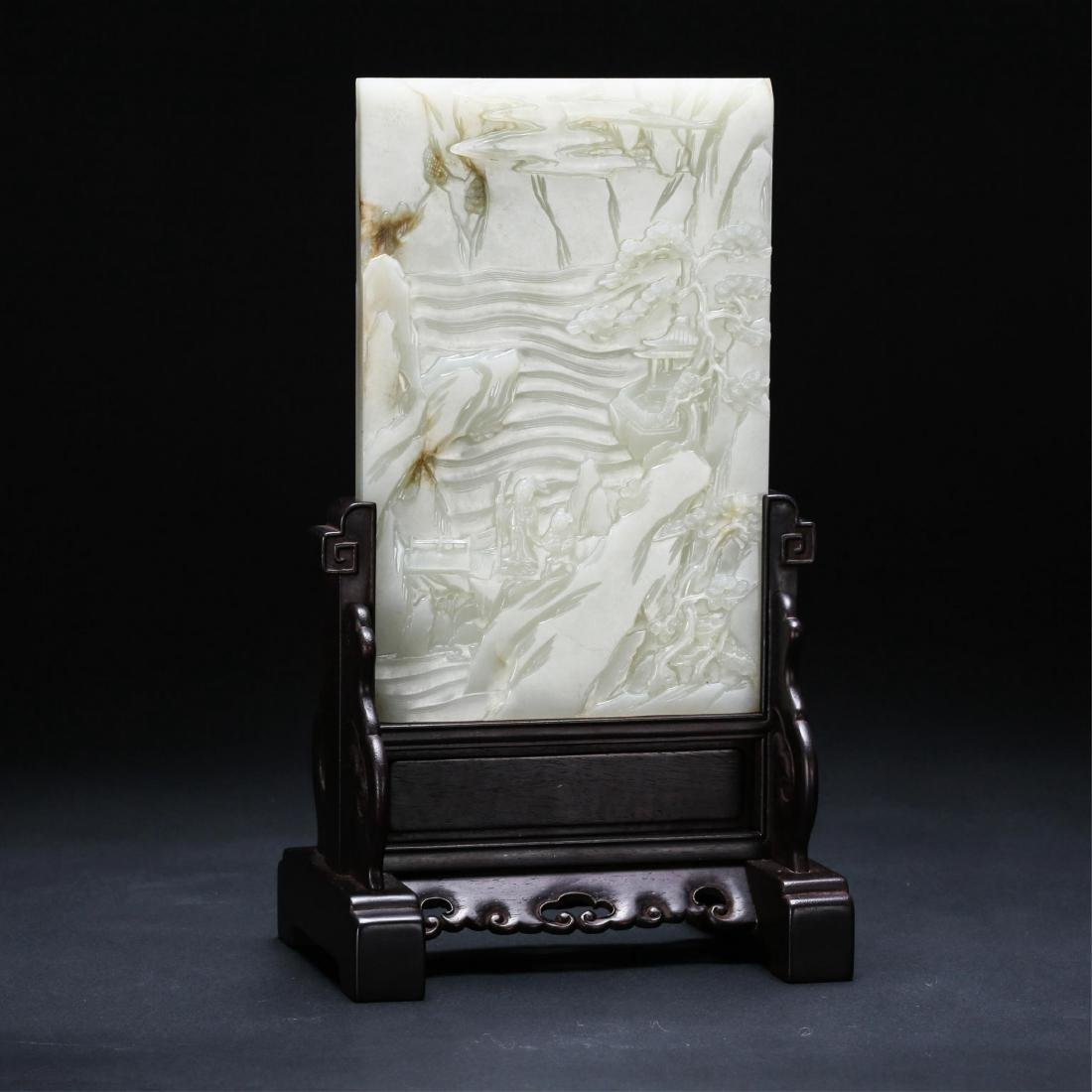 CHINESE WHITE JADE TABLE SCREEN, QING DYNASTY