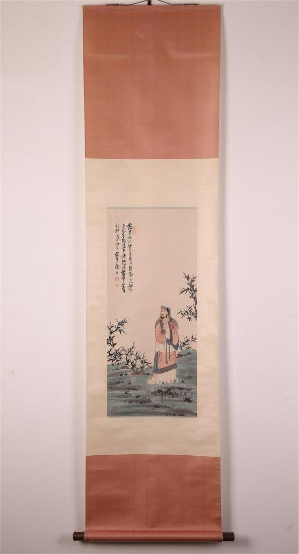 CHINESE SCROLL PAINTING OF SCHOLAR, XIE ZHILIU