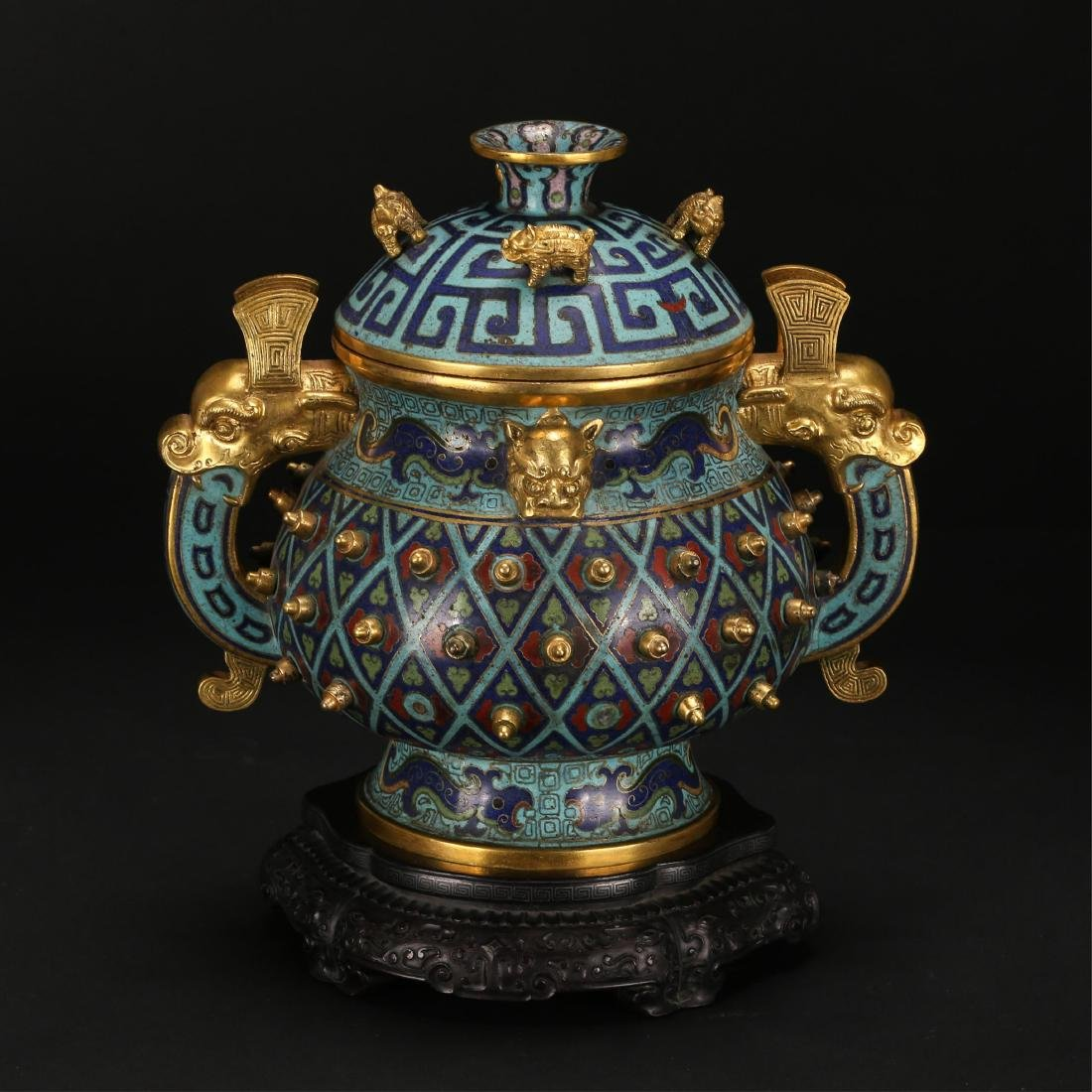 CHINESE CLOISONNE COVER CENSER, QING DYNASTY