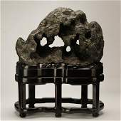 LARGE CHINESE LINGBI STONE WITH STAND