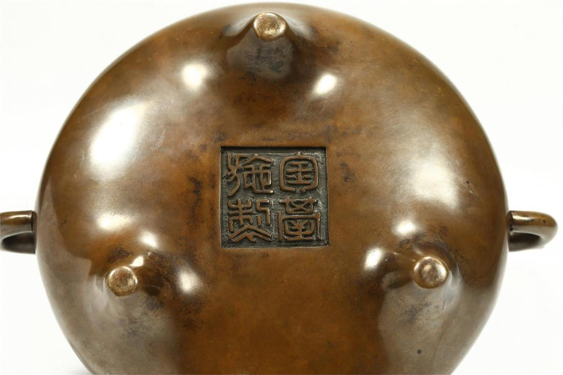CHINESE BRONZE TRIPOD CENSER, QING DYNASTY - 7