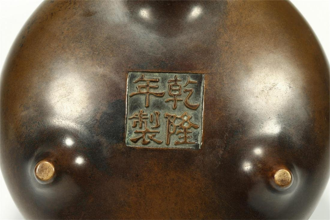 CHINESE BRONZE TRIPOD CENSER, QING DYNASTY - 8