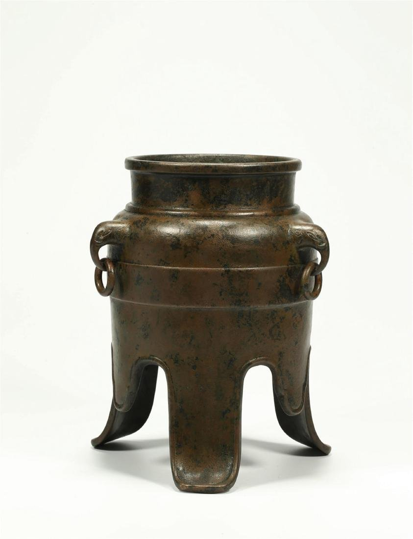 CHINESE BRONZE TRIPOD CENSER, QING DYNASTY