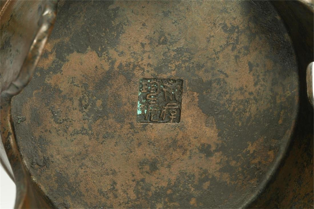CHINESE BRONZE TRIPOD CENSER, QING DYNASTY - 5