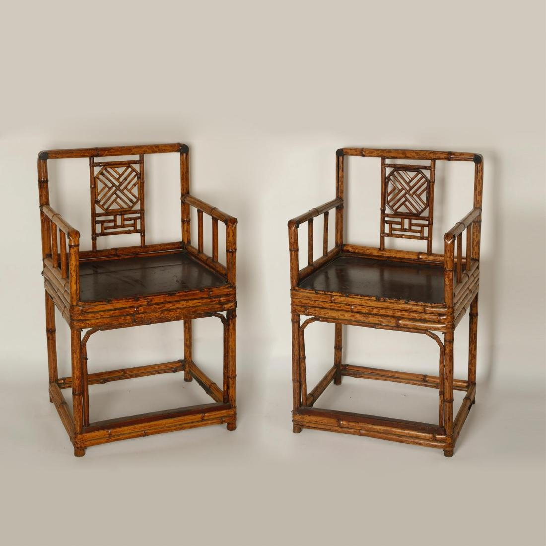 PAIR OF CHINESE BAMBOO ARMED CHAIRS, QING DYNASTY