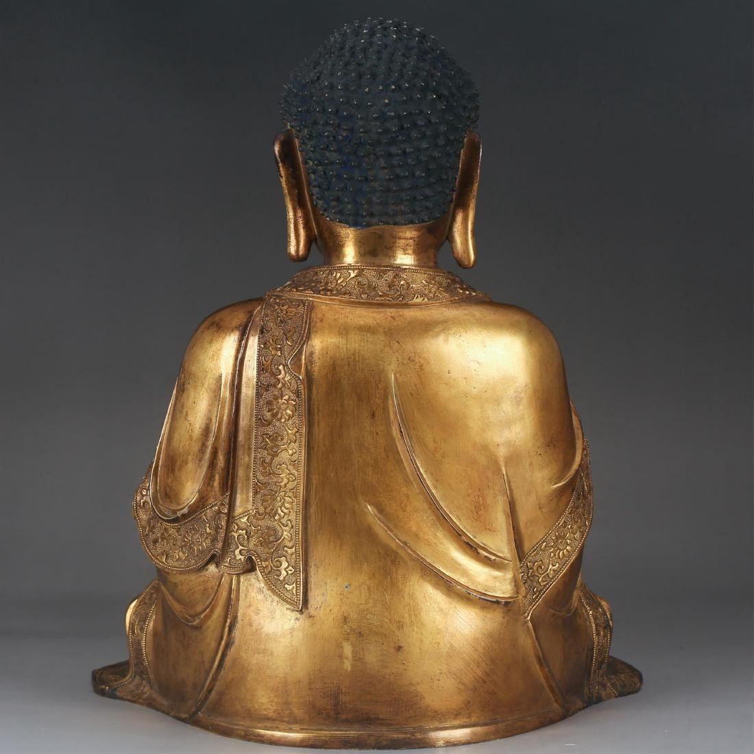 CHINESE GILT BRONZE SEATED SHAKYAMUNI, QING - 2