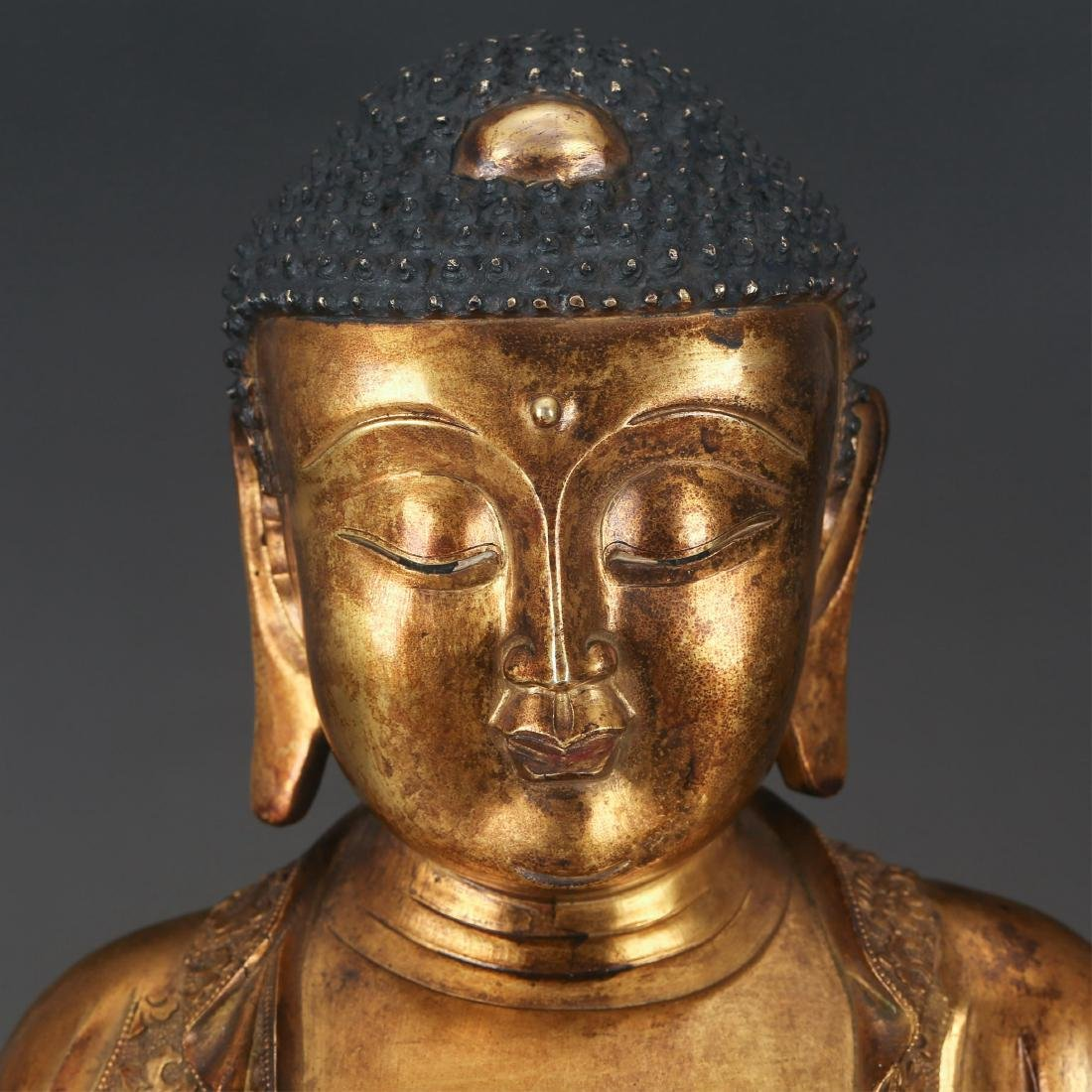 CHINESE GILT BRONZE SEATED SHAKYAMUNI, QING - 3