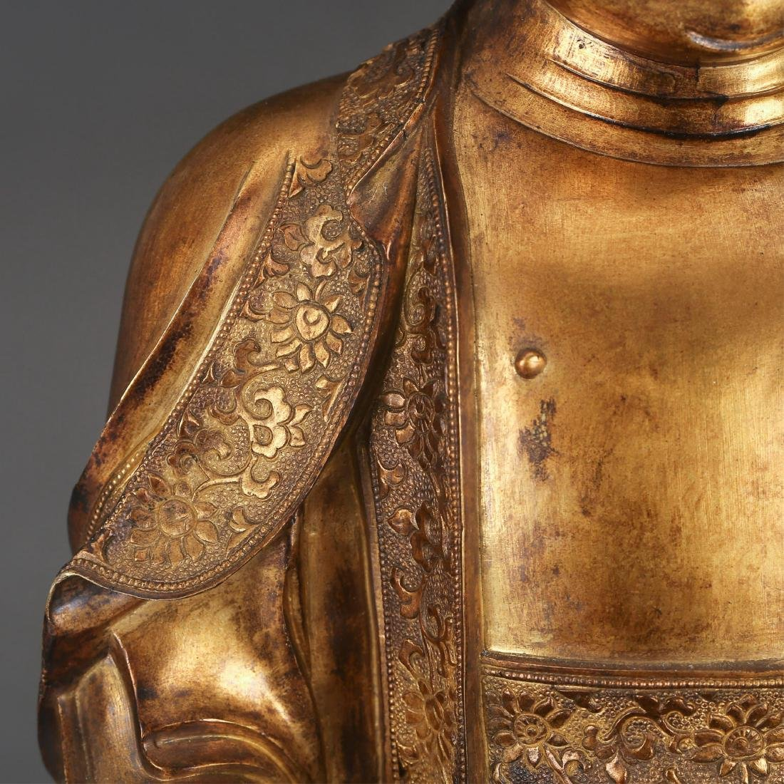 CHINESE GILT BRONZE SEATED SHAKYAMUNI, QING - 4